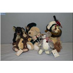 Selection of plush toys including Ganz bears and mice