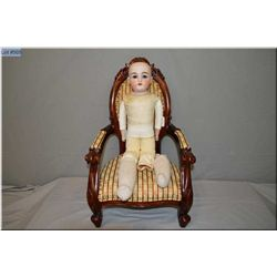 "24"" Kestner 154 leather bodied doll with bisque head, sleep eyes, open mouth, good bisque, no cracks"