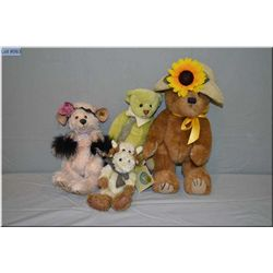 Selection of plush toys including Ganz bear, cow etc.