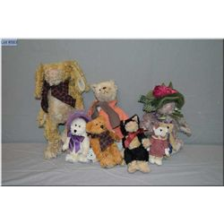 Selection of collectible plush toys including Boyds Collections bears