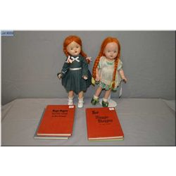 """Two Reliable Maggie Muggins 15"""" composition dolls circa 1947 and four Maggie Muggins hard cover stor"""