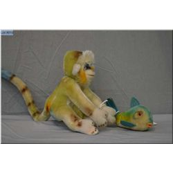 """A vintage Steiff fish 5"""" in length and a Steiff monkey 6"""" in height"""