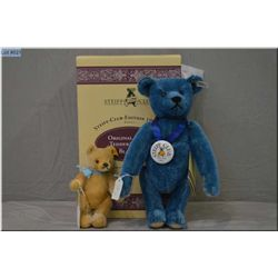 """A boxed Steiff Club 1994 blue 12"""" jointed bear and a 6"""" jointed Steiff bear"""