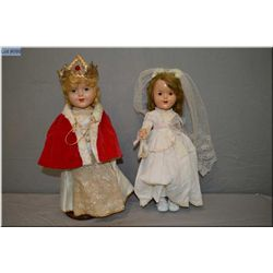 """Two 15"""" Reliable composition dolls including coronation doll in good condition and bride doll with m"""