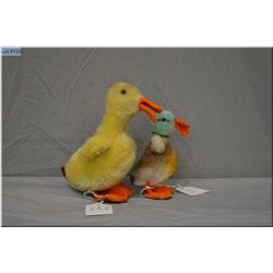 """Two small vintage Steiff animals including 4 1/2"""" duck and 6"""" duckling"""