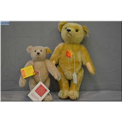 """Two Steiff bears including golden 13"""" jointed bear and a 9"""" blonde jointed bear"""