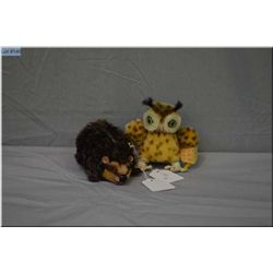 """Two vintage Steiff animals including Joggi the hedgehog 5"""" in length and small 3 1/2"""" owl"""