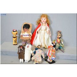 Selection of vintage dolls including Kimmie style Eskimo dolls, Reliable Queen Elizabeth doll, Orien