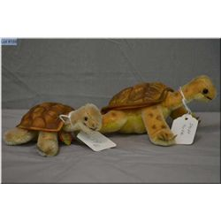 """Two vintage Steiff turtles including 6 1/2"""" turtle and 5 1/2"""" turtle"""