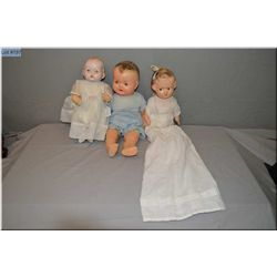 """13"""" Reliable Hairbow Peggy, 14"""" English drink and wet doll with crier and a 20"""" Reliable baby doll w"""