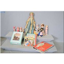 Selection of storybook style hard plastic dolls with sleep eyes, boxed set of The Little Bears and a