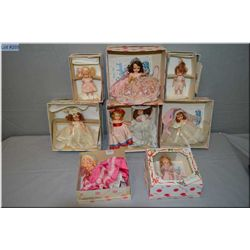 Six Nancy Ann storybook dolls with sleep eyes in boxes and two composition painted eye storybook dol
