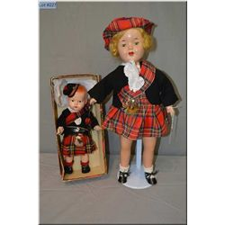 """18"""" composition doll on stuffed body with tin sleep eyes in great condition and a mint in box compos"""