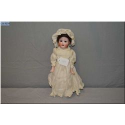 """12"""" German bisque head and hands doll on leather body with sleep eyes and open mouth no cracks no ha"""