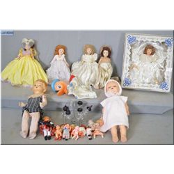 Five vintage Marcie storybook style dolls and a tray lot of dolls and collectibles including doll bo