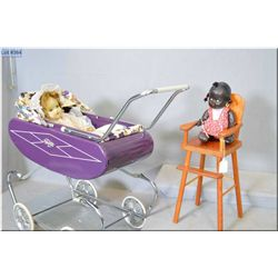 """Wooden doll highchair and Gendron metal doll carriage plus a vintage 11"""" composition Topsy doll and"""