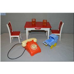 Reliable dolls table and chair, buggy and doll phone
