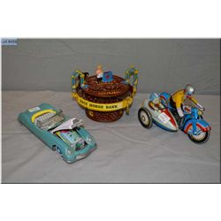 Vintage Japanese tin motorcycle with side car and a made in China tin litho friction car plus a cast