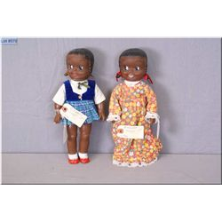 """Two vintage Reliable 12"""" Topsy dolls with molded hair and painted features circa 1958"""