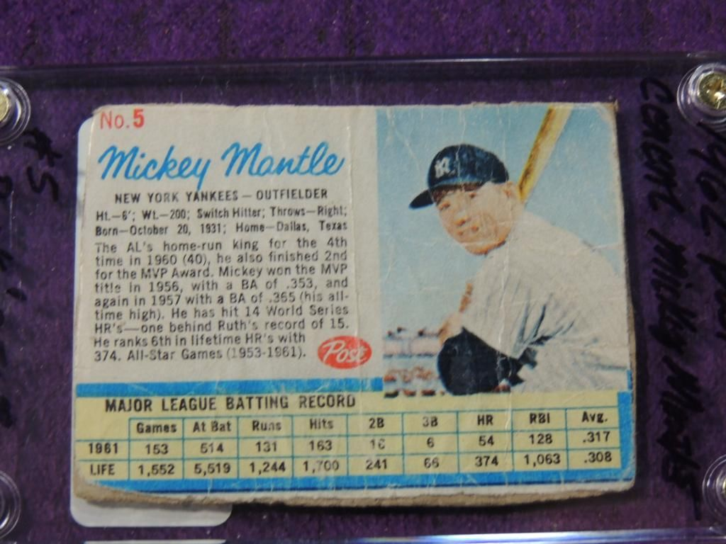 1962 Post Cereal Mickey Mantle 5 Baseball Card