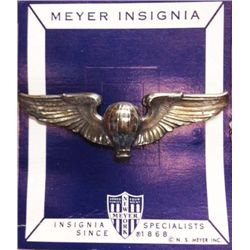 USAAF ARMY AIR CORPS BALLOON PILOT WING ON INSIGNIA CARD