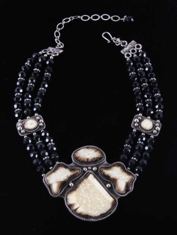 Wooly Mammoth Silver & Black Onyx Necklace This is