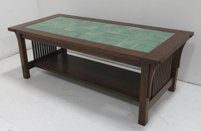 Pleasing Stickley Style Mission Oak Coffee Table W Tile Top Bralicious Painted Fabric Chair Ideas Braliciousco