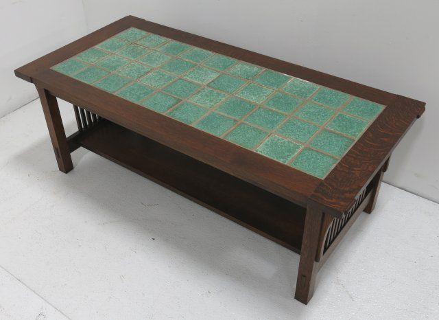 Brilliant Stickley Style Mission Oak Coffee Table W Tile Top Bralicious Painted Fabric Chair Ideas Braliciousco