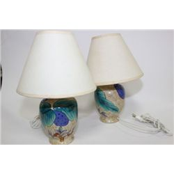 PAIR OF HAND PAINTED STYLE LAMPS
