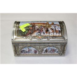 VINTAGE TREASURE CHEST TIN WITH CONTENTS