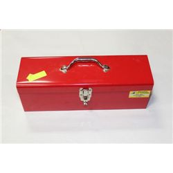 RED TOOL BOX WITH HAND TOOLS