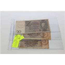 GERMAN CONCENTRATION CAMP BANKNOTES X3