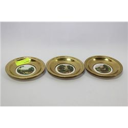 SET OF 3 VINTAGE BRASS COLLECTOR PLATES