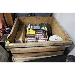 WOOD CRATE WITH VHS/CAMP COOLER/ETC.