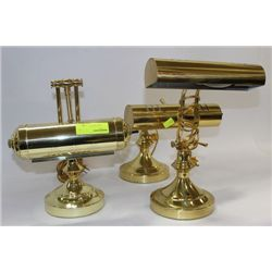 GROUP OF 3 BRASS BANKERS LAMPS