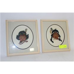 PAIR OF NEEDLEPOINT NATIVE PICTURES