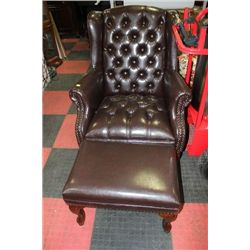 NEW BROWN LEATHER WING BACK PARLOUR CHAIR W/