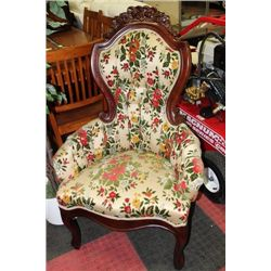 HAND CARVED WOOD QUEEN ANNE CHAIR