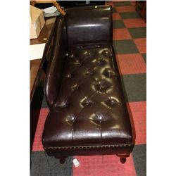 NEW BROWN LEATHER STORAGE CHAISE LOUNGE CHAIR