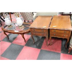 FRENCH PROVINCIAL 3 PC COFFEE TABLE SET