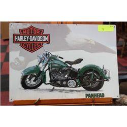 HARLEY DAVIDSON PANHEAD METAL MOTORCYCLE SIGN