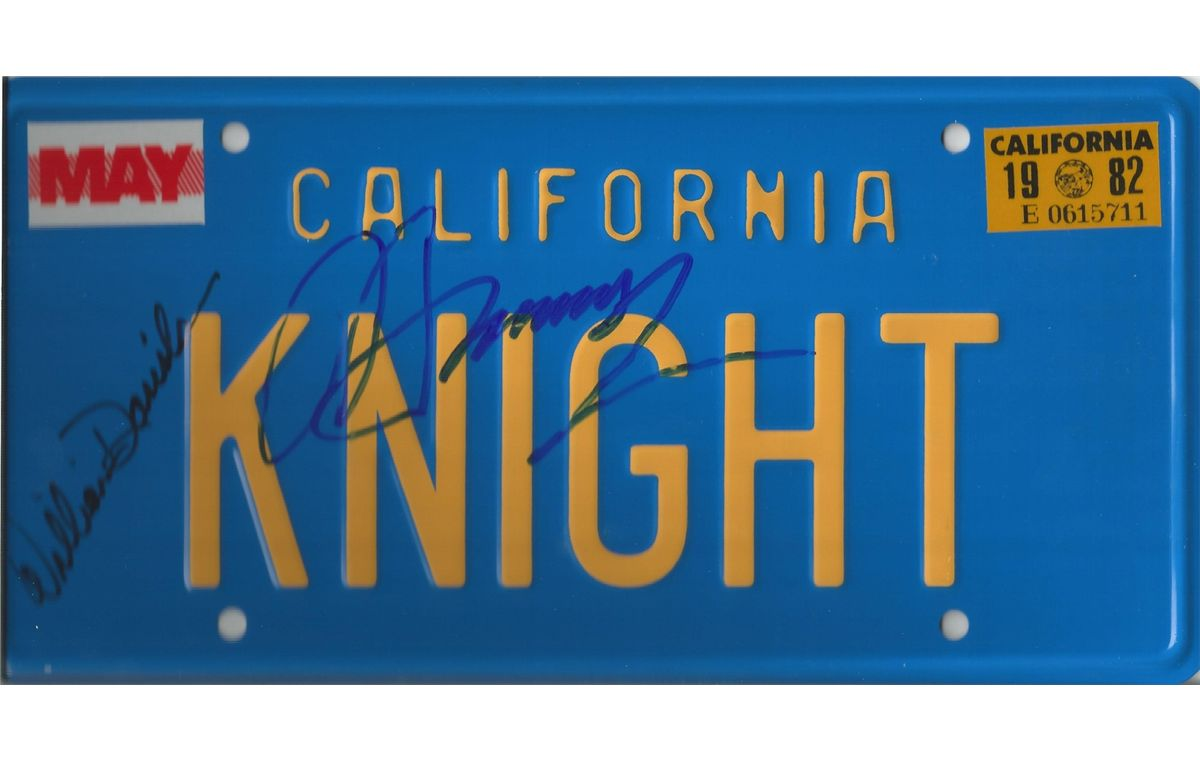 Knight Rider prop metal license tag from a Knight Rider car hand signed by  actor William Daniels who