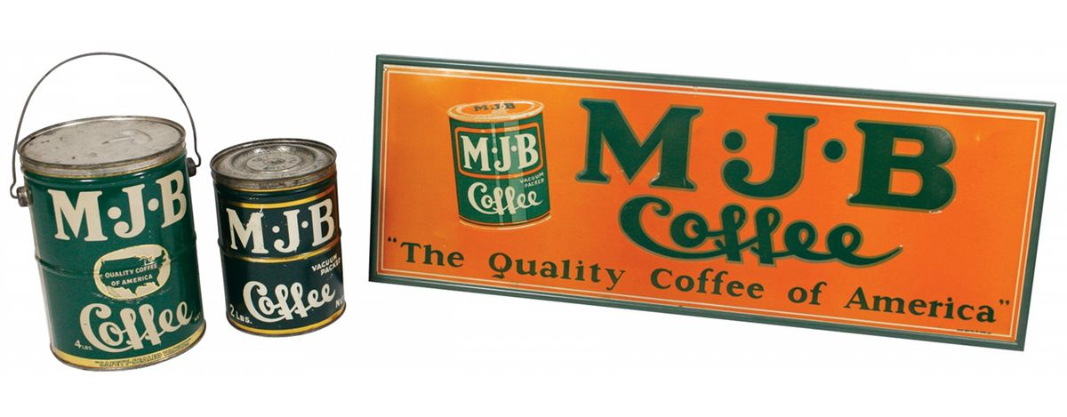 Country store coffee sign, pail & tin (3), M J B  Coffee