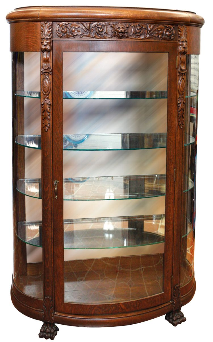 Image 1 Furniture China Cabinet Oak W Fully Curved Glass Front