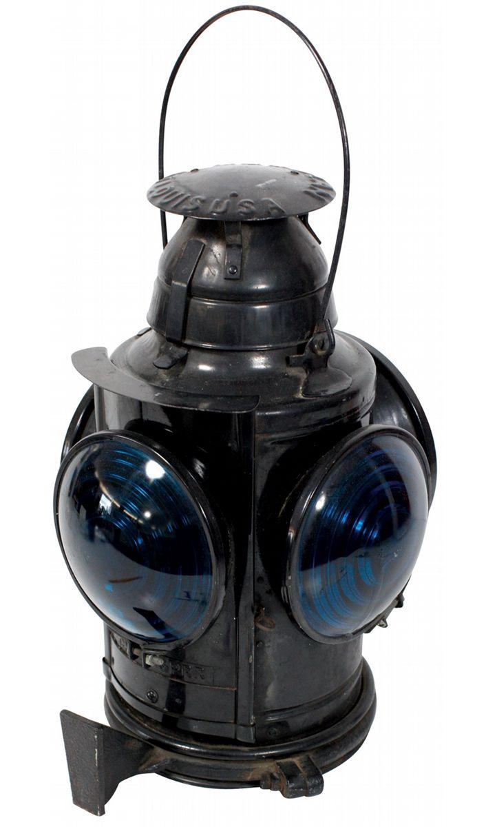 Railroad signal lamp, Handlan-St  Louis, blue & red glass 5 5