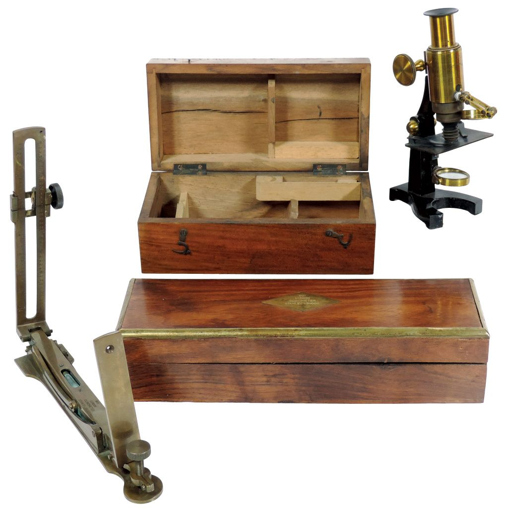 Laboratory Tools 2 1901 London Clinometer By Stanley London Has Polished Wood Box W Brass Id E
