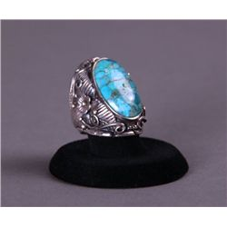 Native American Turquoise and Sterling Silver Ring with