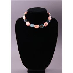 Turquoise and Pink Coral necklace.(Size: See last photo
