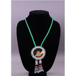 20th Century Hand Beaded Bola tie.  Native American