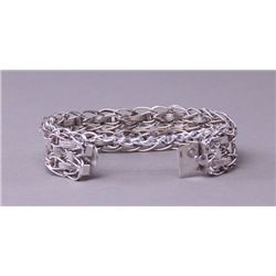 Fine sterling silver wire bracelet with hearts.  39g